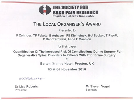 """Local Organiser's Award"" at the Society for Back Pain Research (UK)"